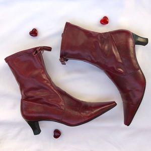 Dark red heeled boots